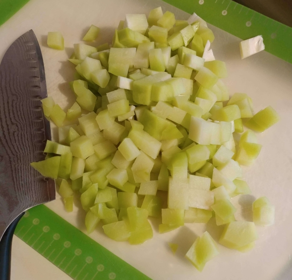 Chopped spiny chayote
