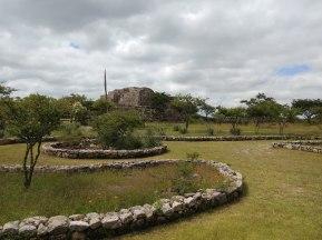 View of the pyramid from the garden at Cañada de la Virgen