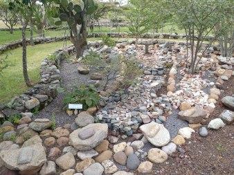 Molcajetes displayed in the garden of Cañada de la Virgen. Photo by Angela Grier