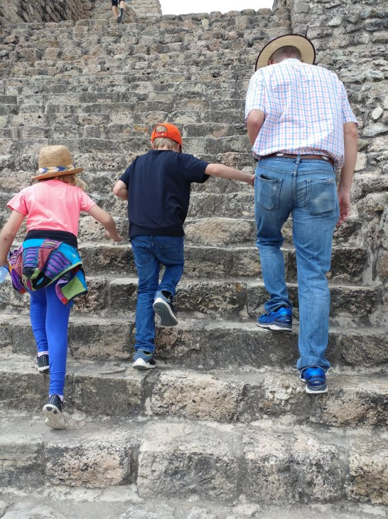 Walking up the steep steps of the pyramid. Photo by Angela Grier