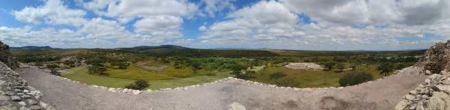 Panoramic view from main pyramid from the wetlands to the third structure. Photo by Angela Grier