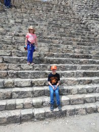 Mountain goats on the tall, steep steps of the pyramid. Photo by Angela Grier