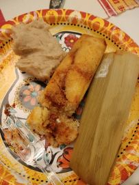 Tamale and refried beans. Photo by Angela Grier