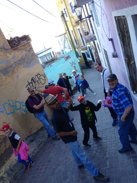One of a few rest breaks on the way up to El Pipila, City of Guanajuato. Photo by Angela Grier