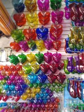 Blown glass hearts. Photo by Angela Grier