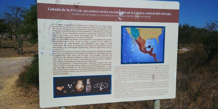 Placard found at Cañada de la Virgen